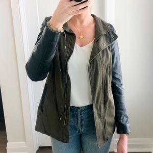 H&M army green jacket with leather detail